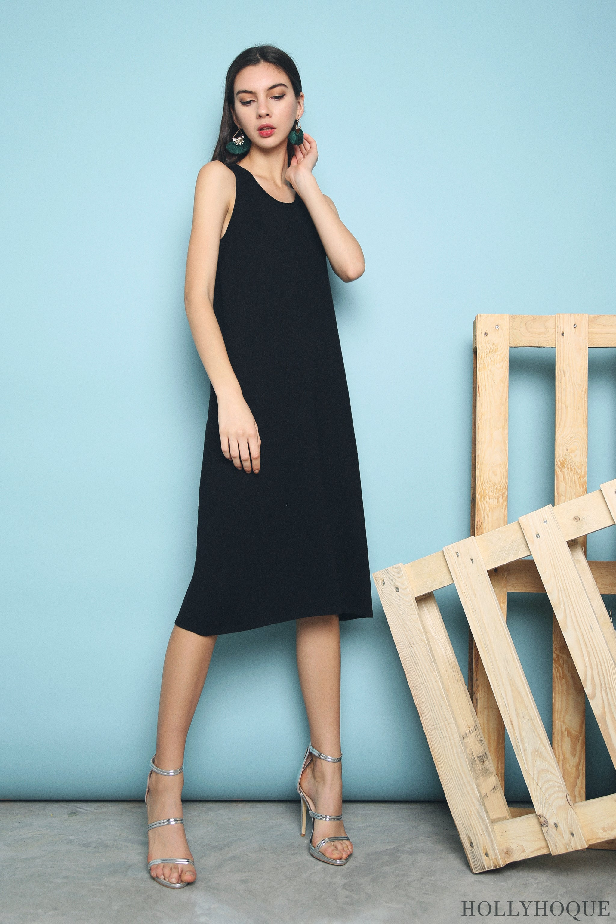 Willa Basic Knit Dress Black (Restock)