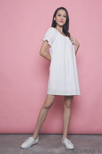 Cassis Bow Dress White