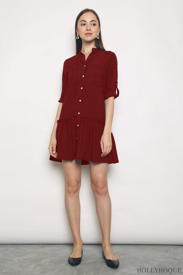 Dipty Dropwaist Shirt Dress Red