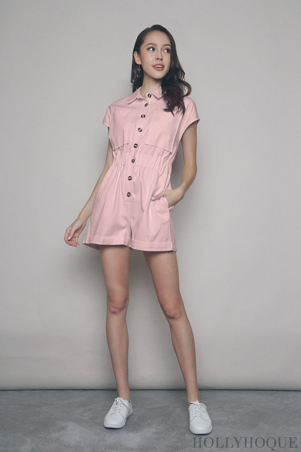 Elliot Pocket Romper Pink