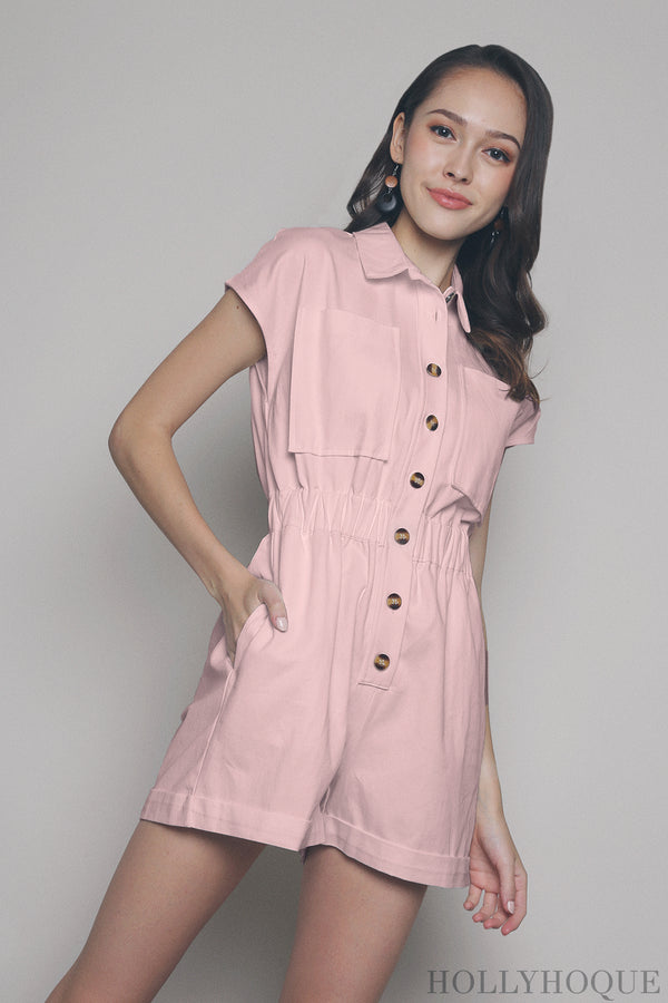 Elliot Safari Romper Pink