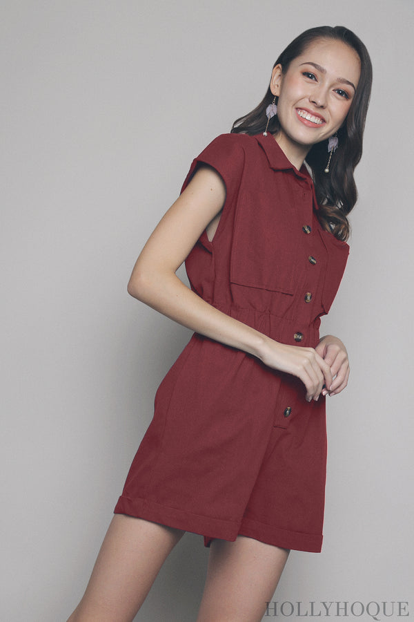 Elliot Pocket Romper Red