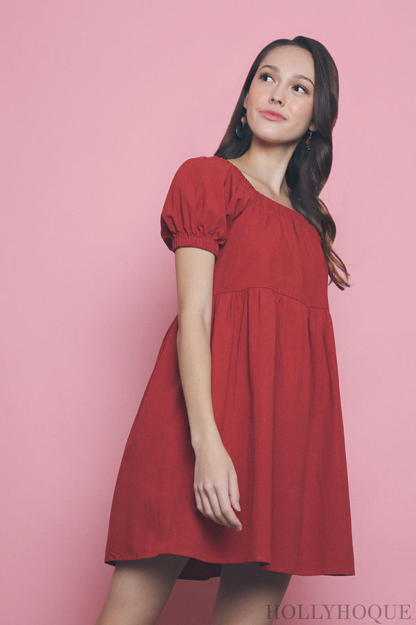 Kaitlyn Square Neck Babydoll Dress Red