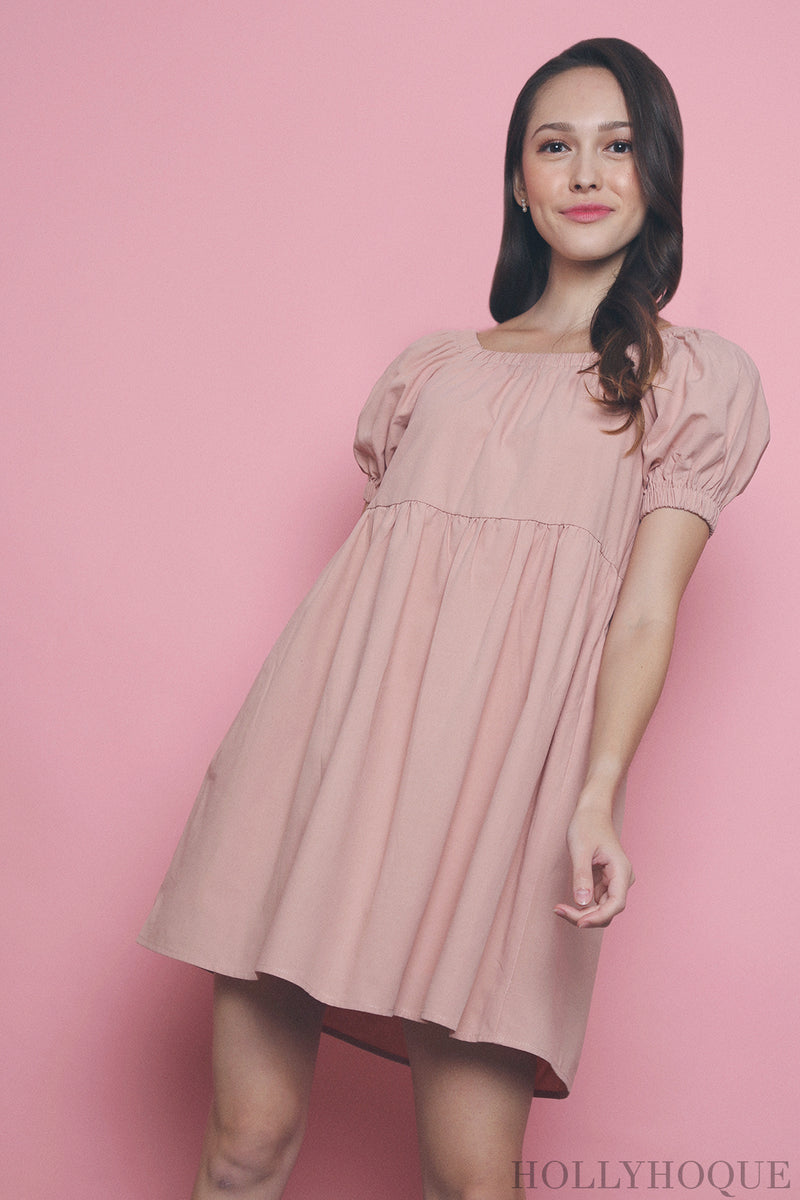 Kaitlyn Square Neck Babydoll Dress Pink