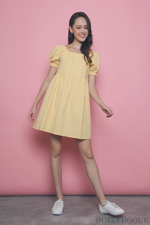 Kaitlyn Square Neck Babydoll Dress Yellow
