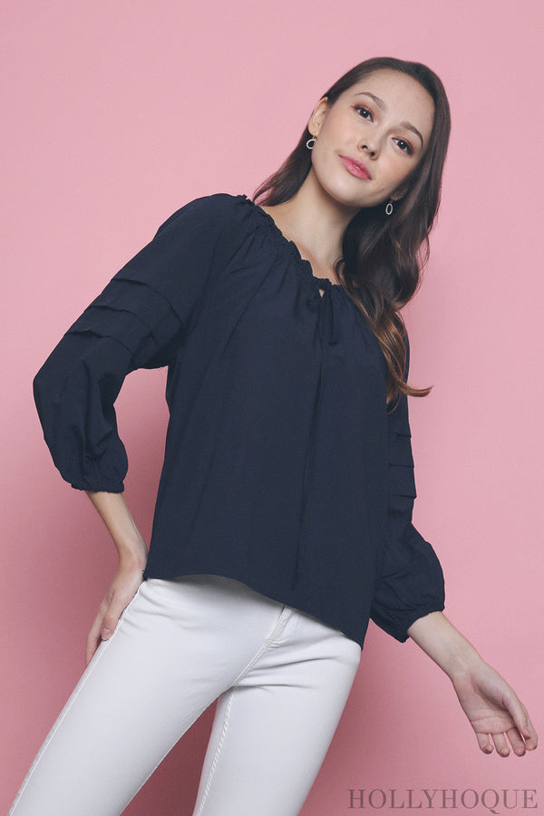 Krys Off Shoulder Blouse Navy