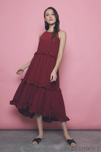 Sunny Tiered Maxi Dress Wine Red