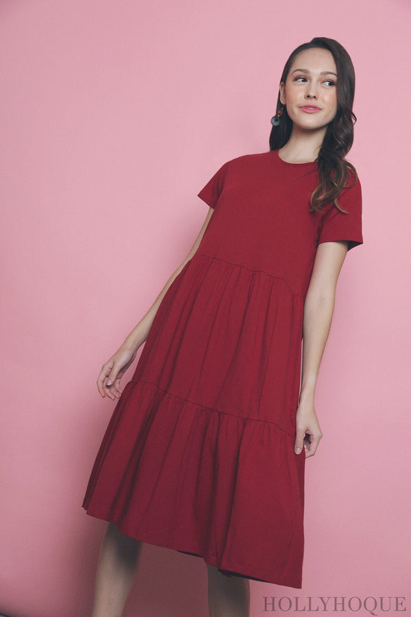 Val Layered Tee Dress Red (Restock)