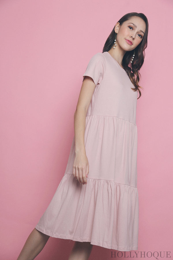 Val Layered Tee Dress Pink (Restock)