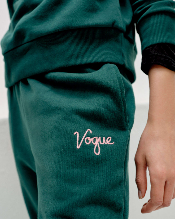 VOGUE Sweatpants Smaragdgrün mit Logo-Stickerei