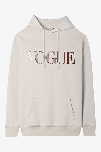 VOGUE Hoodie Taupe mit bunter Logo-Stickerei
