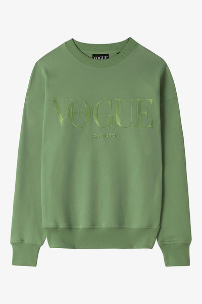 VOGUE Sweatshirt Moosgrün mit Logo-Stickerei