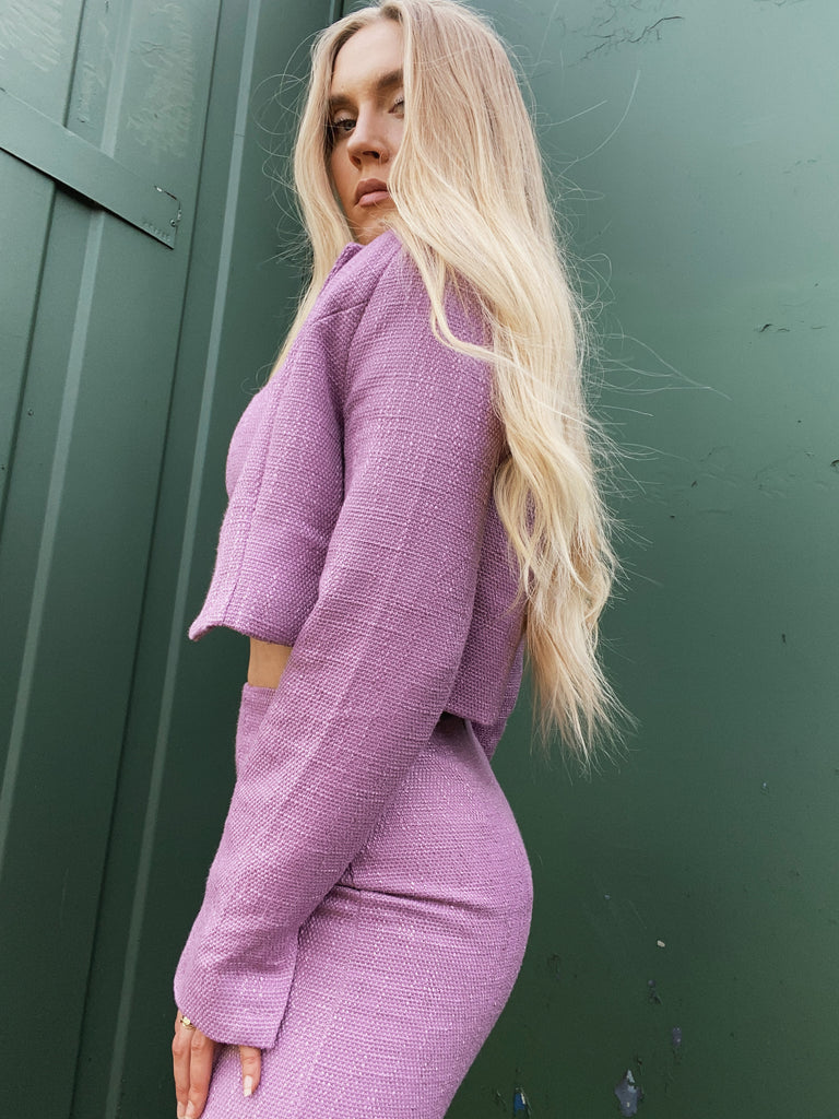 TWEED CROPPED JACKET - MAUVE - BOUJEE OFFICIAL