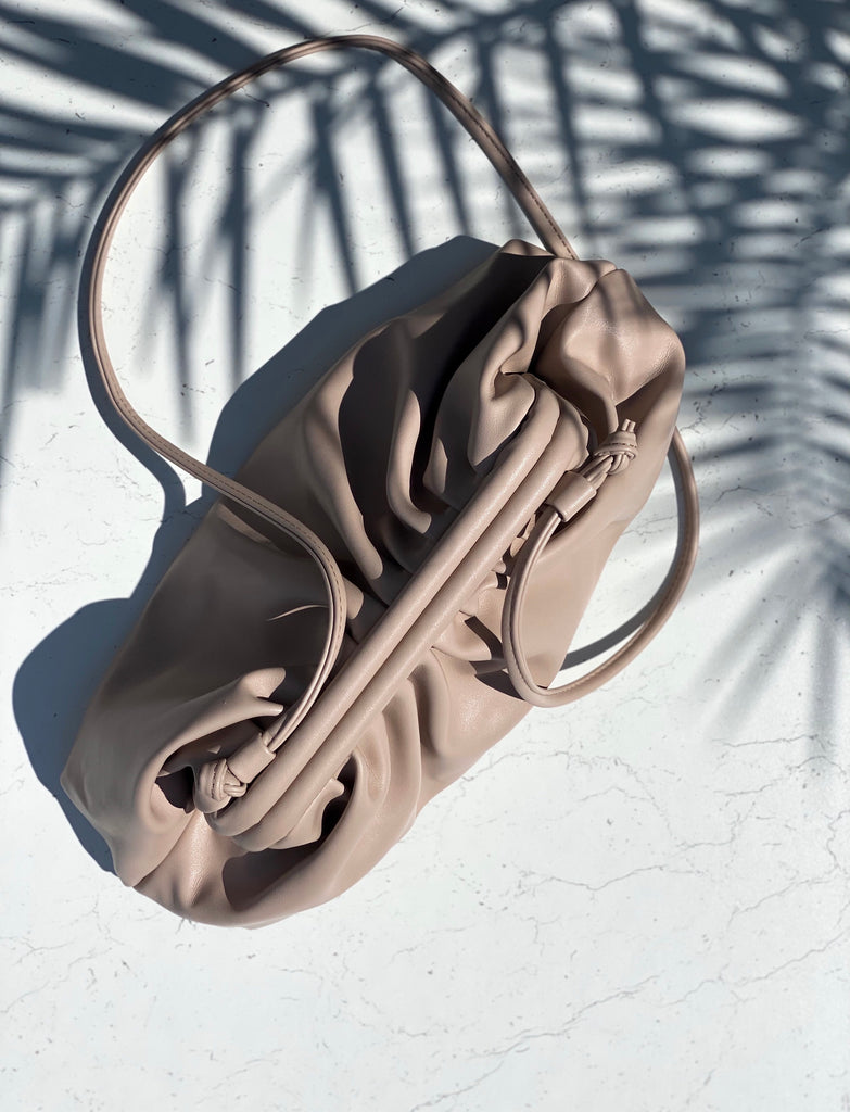 VEGAN LEATHER CLUTCH BAG - NUDE - BOUJEE OFFICIAL