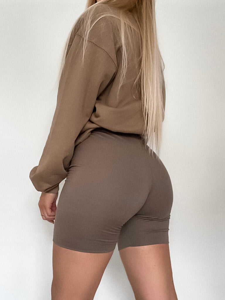 DOUBLE LAYERED BIKER SHORTS - MOCHA - BOUJEE OFFICIAL