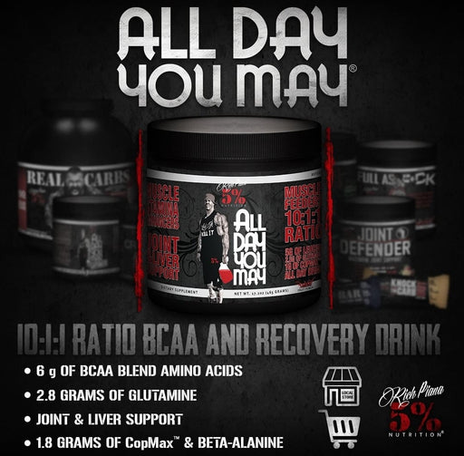 Rich Piana 5PercentNutrition ALL DAY YOU MAY 16.4OZ 465G 30SVR.