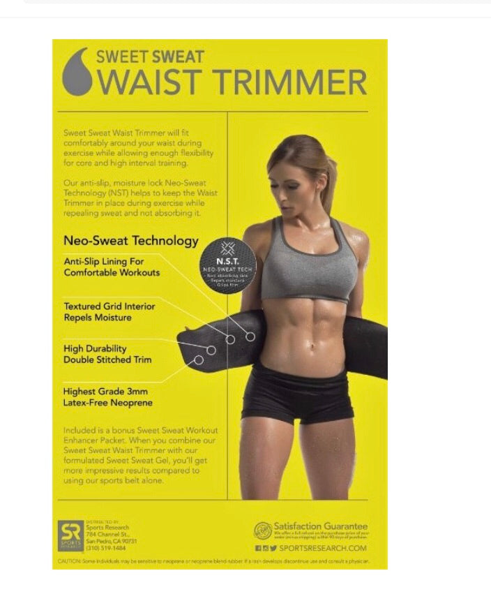 "Sports Research Corporation Sweet Sweat Waist Trimmer Yellow Color Medium: 8"" Width x 41"" Length"