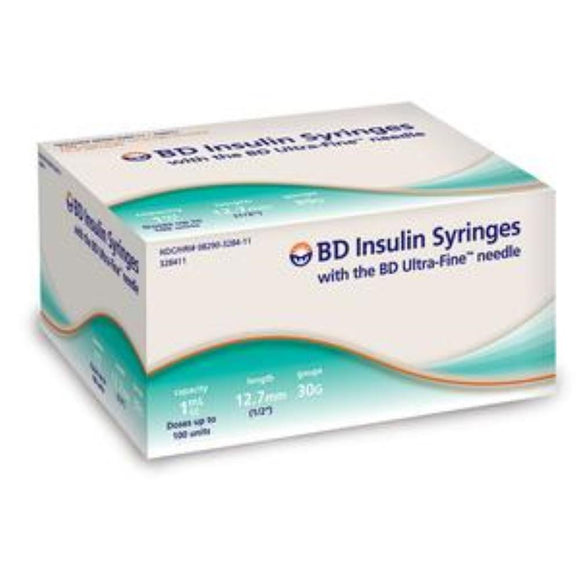 BD 30G (0.30mm) 1/2in (12.7mm) 1cc (1mL) 100 Becton Dickinson Ultra-Fine Needle U100 Insulin Syringes