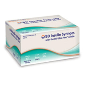 BD 31G (0.25mm) 5/16in (8mm) 1cc (1mL) 100 Becton Dickinson Ultra-Fine Needle U100 Insulin Syringes