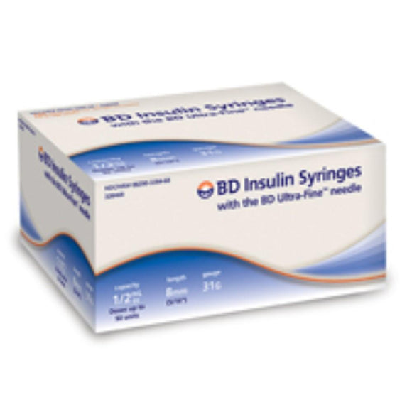 BD 31G (0.25mm) 5/16in (8mm) 1/2cc (0.5mL) 100 Becton Dickinson Ultra-Fine Needle U100 Insulin Syringes