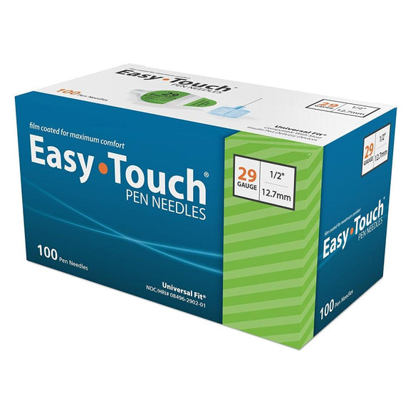 MHC EasyTouch 29G (0.33mm) 1/2in (12.7mm) 100 U100 Insulin Pen Needles