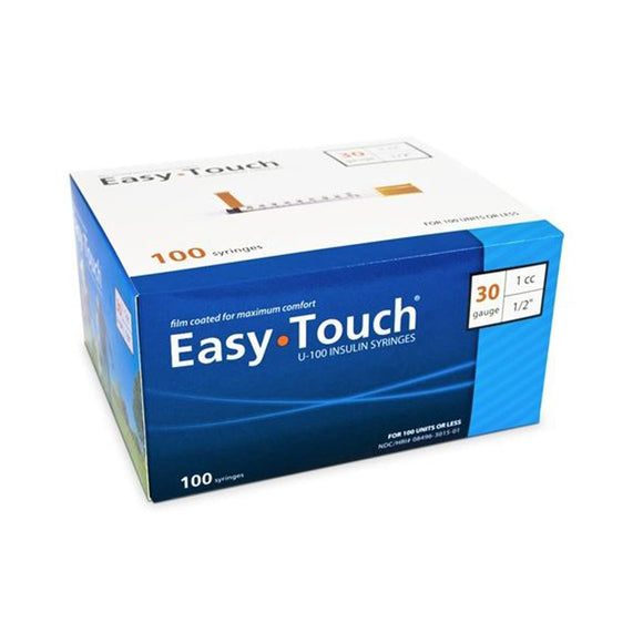 MHC EasyTouch 30G (0.30mm) 1/2in (12.7mm) 1cc (1mL) 100 U100 Insulin Syringes