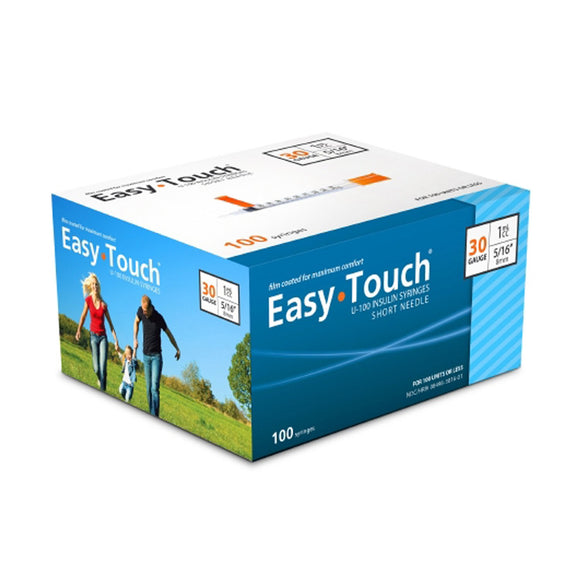 MHC EasyTouch 30G (0.30mm) 5/16in (8mm) 1cc (1mL) 100 U100 Insulin Syringes