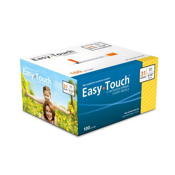 MHC EasyTouch 31G (0.25mm) 5/16in (8mm) 1cc (1mL) 100 U100 Insulin Syringes