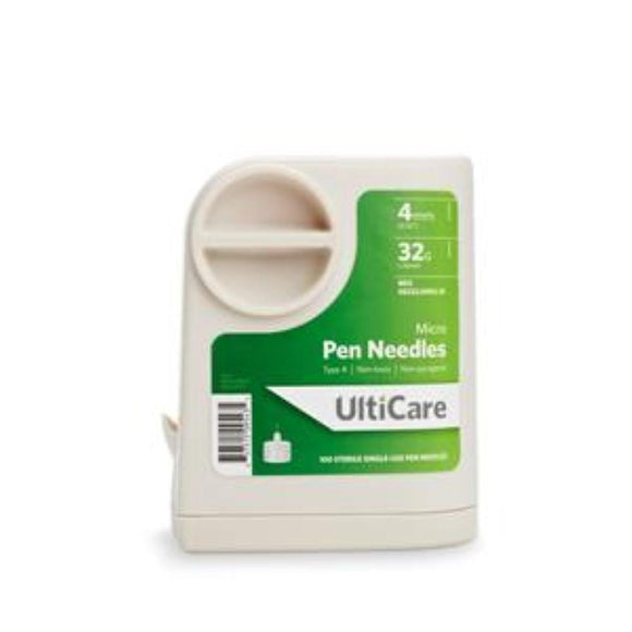 Ultimed UltiCare 32G (0.23mm) 5/32in (4mm) 100 U100 Insulin Micro Pen Needles with UltiGuard® Safe Pack