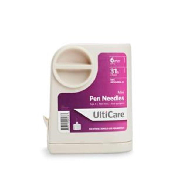 Ultimed UltiCare 31G (0.25mm) 1/4in (6mm) U100 Insulin Mini Pen Needles with UltiGuard Safe Pack