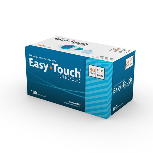 MHC EasyTouch 30G (0.30mm) 5/16in (8mm) Box of 100 Insulin Pen Needles