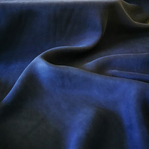 Deep blue denim cupro. Soft hand and drape, vegan silk.
