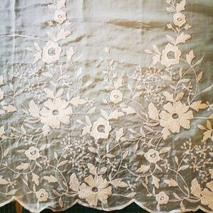 Embroidered Cotton and Silk Blend Voile, Floral Design