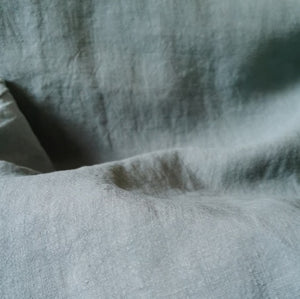 100% linen antique wash muted grey green.Medium weight and 138cm wide.