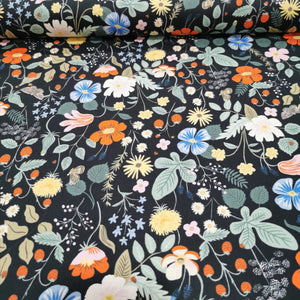 100% Cotton , Rifle Paper Co Strawberry Fields, Black - 1/4 metre