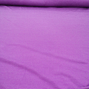 Cotton Jersey, Purple Fine White Stripe - 1/4 metre