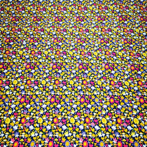 100% Cotton , Windham 'Solstice ', Mustard and Magenta Floral - 1/4 metre