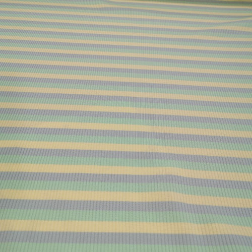Ribbed Cotton Jersey, Sorbet Stripe - 1/4 metre