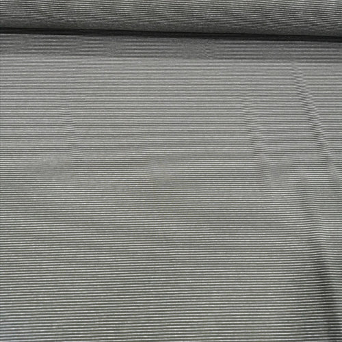 Cotton Jersey, Olive Fine White Stripe - 1/4 metre