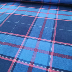 100% Cotton Poplin, Madras Check, Mid Blue  - 1/4 metre