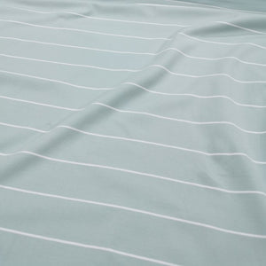 Cotton Jersey, Duck Egg Blue and Fine White Stripe - 1/4 metre