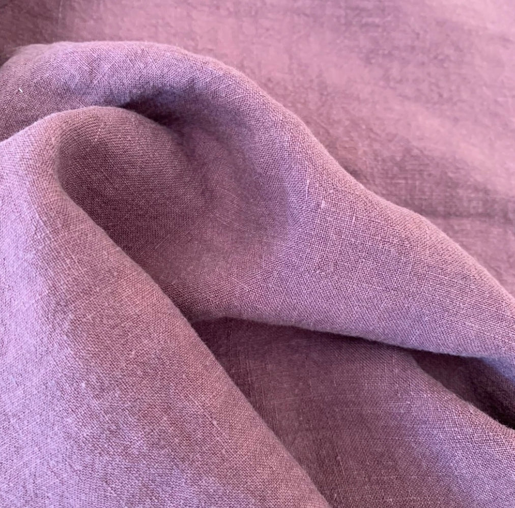 100% Linen Antique Wash, Raisin - 1/4metre