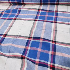 100% Cotton Poplin, Madras Check, Sky Blue  - 1/4 metre