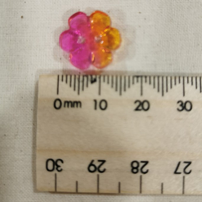 Acrylic Flower Button, Orange to Pink