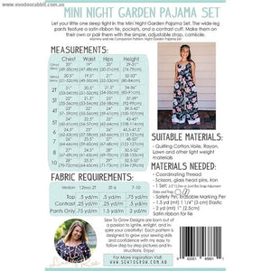Sew To Grow Patterns - Mini The Night Garden PJ Set