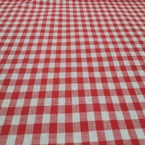 100% Linen, Red Check - 1/4metre