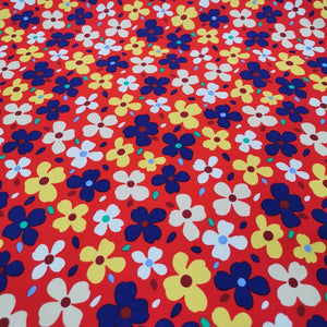 100% Cotton Poplin, Medium Floral, Red  - 1/4 metre