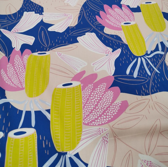 100% Cotton Sateen, Banksia By Vanessa Holiday, Pink 1/4 metre