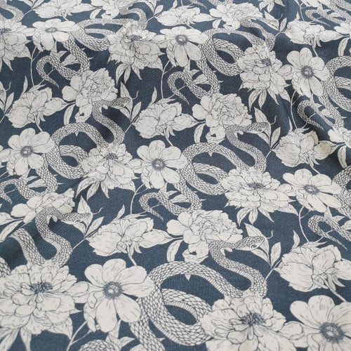 100% Viscose , Snakes Amongst Flowers - 1/4metre