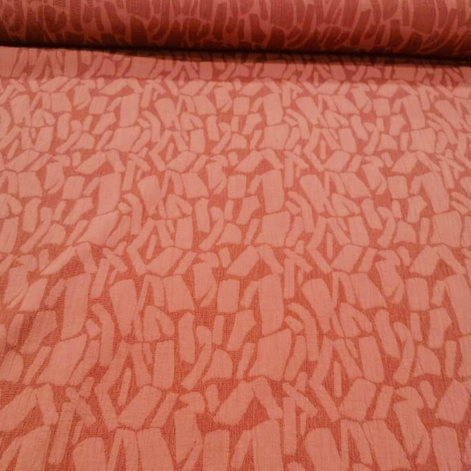 Linen Cotton Jacquard, Brick - 1/4metre